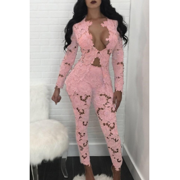 Sexy Deep V Neck Hollow-out Pink Bud SilkTwo-piece Pants Set