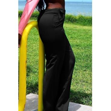 Casual High Waist Button Decorative Black Twilled Satin Pants