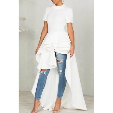 Stylish Mandarin Collar Asymmetrical Falbala Design White Polyester Mid Calf Dress