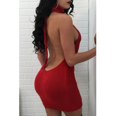Sexy Turtleneck Backless Red Knitting  Mini Dress