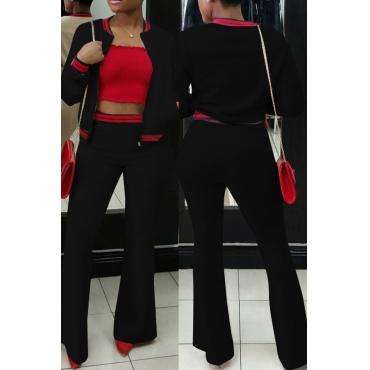 Pantalones De Dos Piezas De Algodón Negro A Rayas De Cuello Redondo Casual