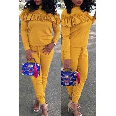 Casual Round Neck Pleated Design Yellow Cotton Two-piece Pants Set