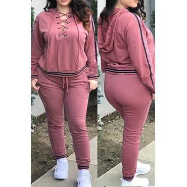 Casual Hooded Collar Lace-up Hollow-out Pink Polyester Two-piece Pants Set