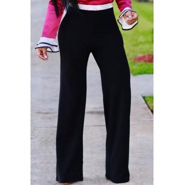 Fashion High Waist Patchwork Black Polyester Zipped Pants