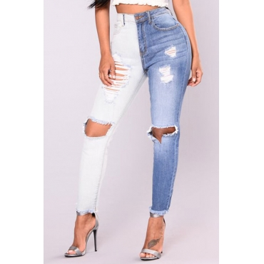 Trendy Mid Waist Broken Holes Blue-white Denim Pants