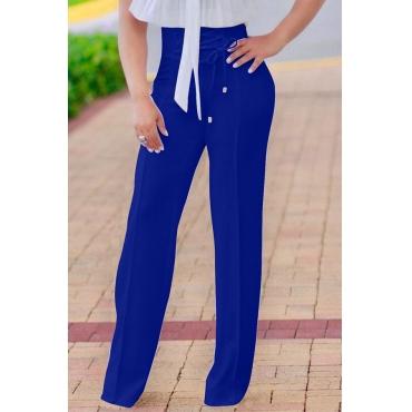 Fashion High Waist Lace-up Blue Polyester Pants