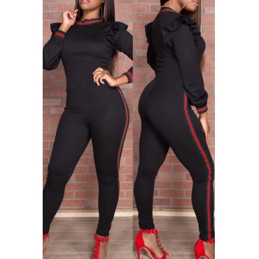 Trendy Round Neck Falbala Design Black Polyester One-piece Jumpsuits
