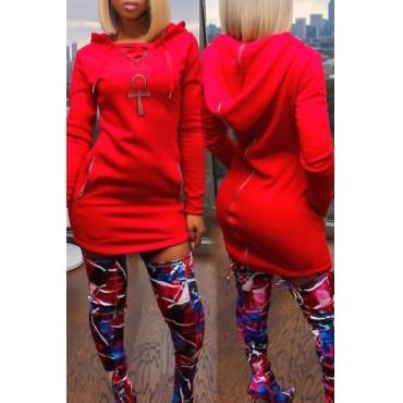 Leisure Long Sleeves Zipper Design Red Polyester Sheath Mini Dress