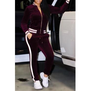 Red Velvet Pants Plain Mandarin Collar Long Sleeve Casual Two Pieces