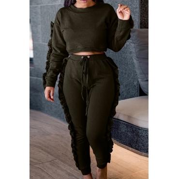 Euramerican Round Neck Ruffle Design Green Polyester Two-piece Pants Set