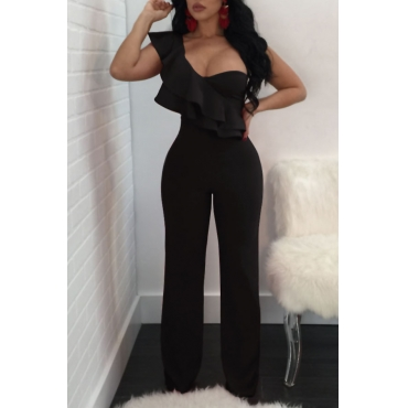 Fashionable Show A Shoulder Ruffles Design Black Polyester One-piece Jumpsuits