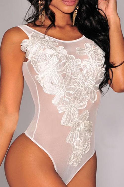 Sexy De Cuello Redondo Transparente Retazos De Una Pieza De Spandex Blanco Jumpsuits
