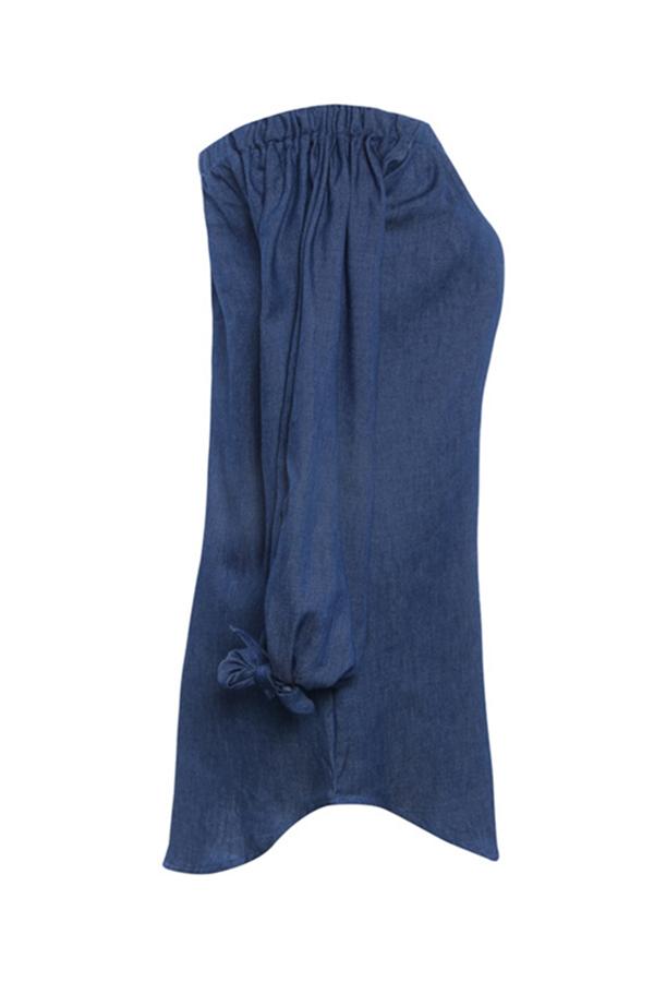 LovelyLeisure Bateau Neck Knot Design Deep Blue Denim Mini Dress