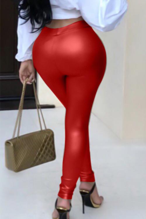 Pantalones De Cuero Rojo Euramerican Alta Cintura Elástica