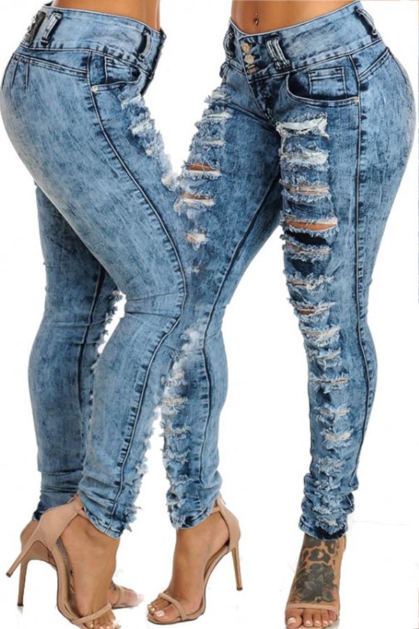Pantalones A Media Cintura De Moda Con Agujeros Rotos Pantalones De Mezclilla Azul Con Cremallera