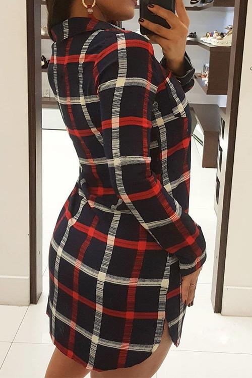Sexy Turndown Collar Lace-up Grid Printed Black Polyester Mini Dress