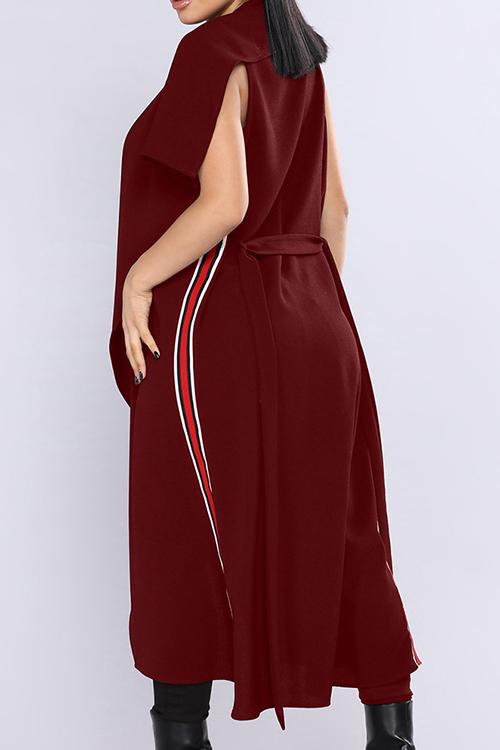 Euramerican Turndown Collar Irregular Diseño Vino Rojo Poliéster Chalecos Largos