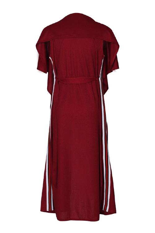 Euramerican Turndown Collar Irregular Design Wine Red Polyester Long Waistcoats