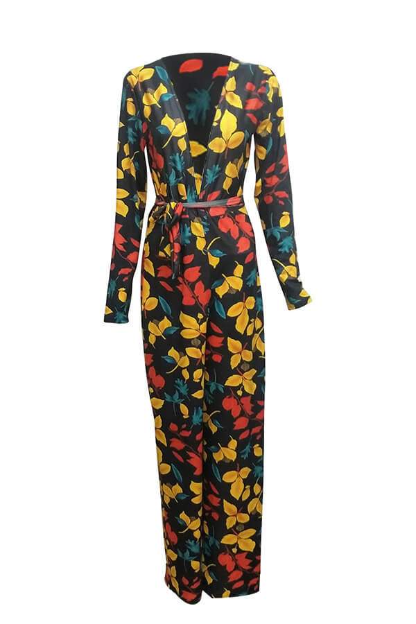 Stylish Deep V Neck Floral Printed Qmilch One-piece Jumpsuits