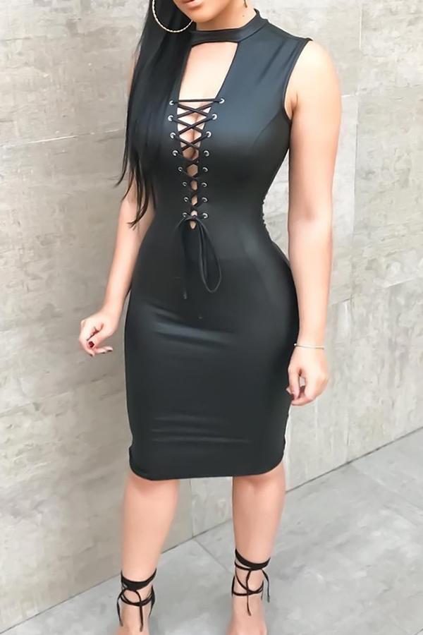Sexy Vestido De Encaje Negro Con Cordones Y Dobladillo Hasta La Rodilla