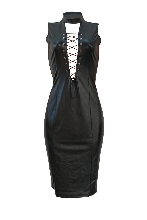 Sexy Mandarin Collar Lace-up Hollow-out Black PU Knee Length Dress