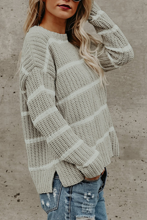 Lovely Fashionable Round Neck Striped Grey Acrylic Sweaters