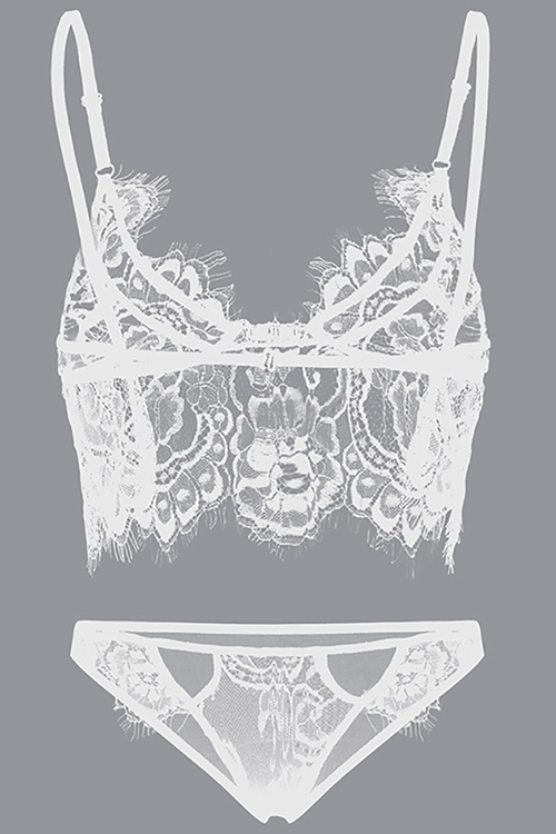 Sexy Lace Hollow-out White Spandex Bra Set