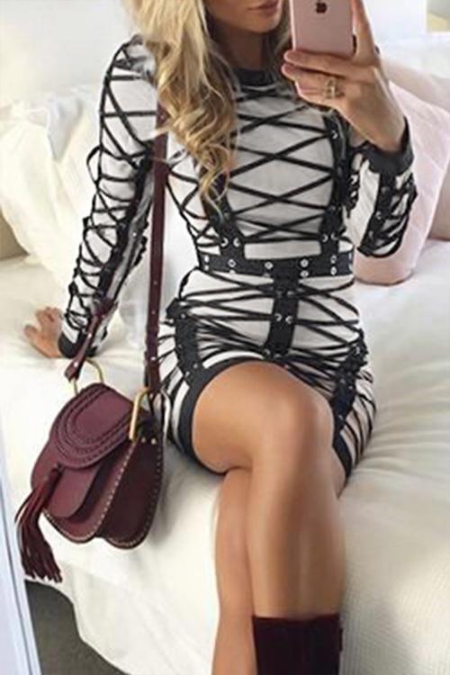 Sexy Rundhalsausschnitt Gestreiftes Beige Polyester Minikleid
