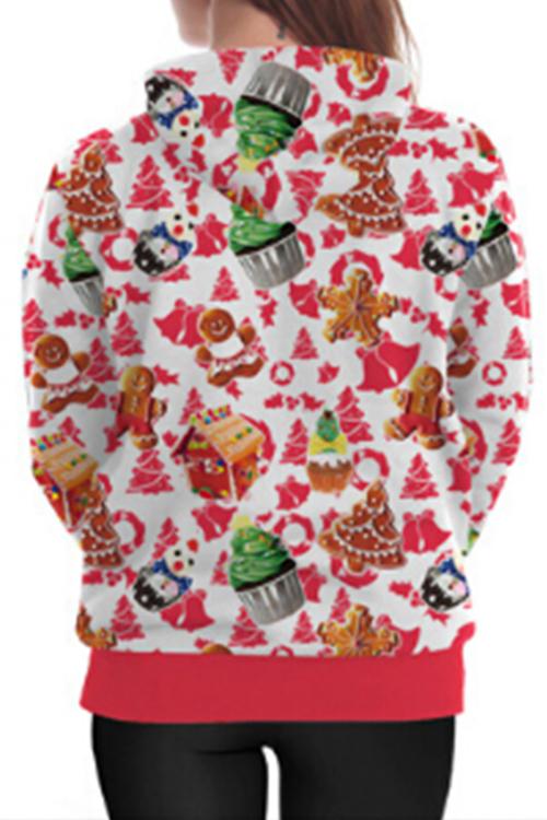 Euramerican Hooded Collar Christmas Printed Polyester Hoodies(Non Positioning Printing)