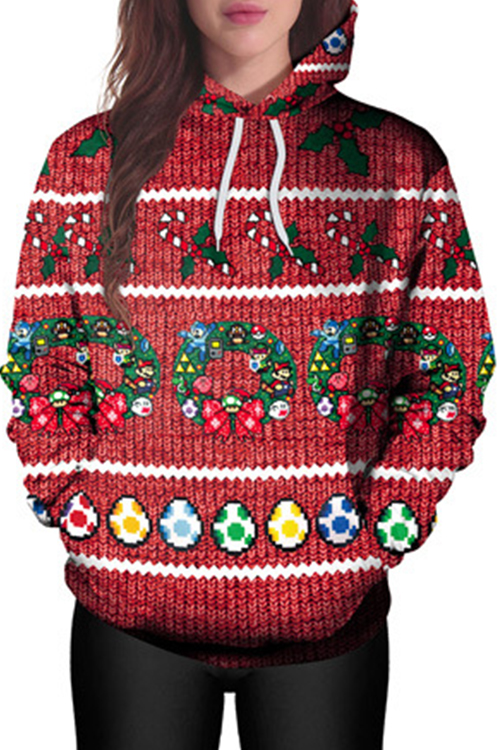 Euramerican Hooded Collar Christmas Printed Polyester Hoodies<br>
