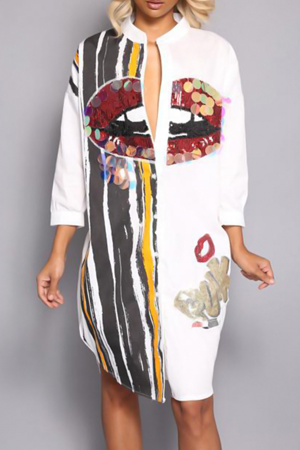 Casual Round Neck Printed Sequins Decoration White Polyester Mid Calf Dress Dresses <br><br>