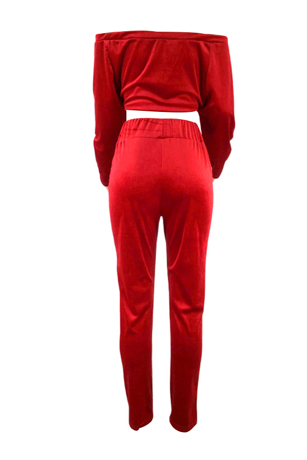 Casual Bateau Neck Knot Design Red Cotton Two-piece Pants Set