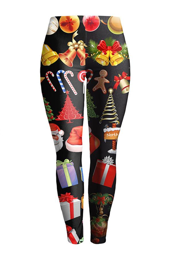 Euramerican Mid Waist Christmas Printed Black Polyester Leggings