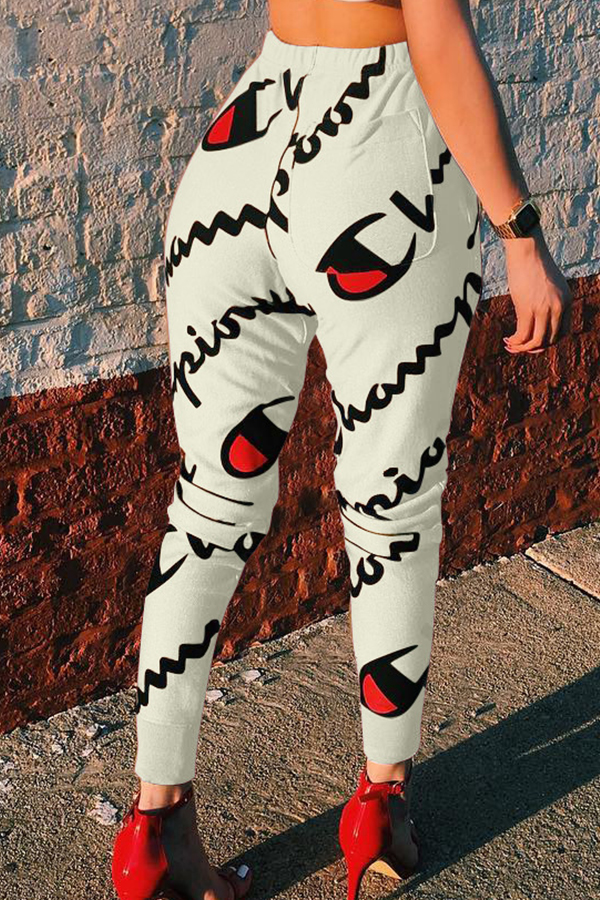 Casual Mid Elastic Waist Letters Printed White Polyester Pants