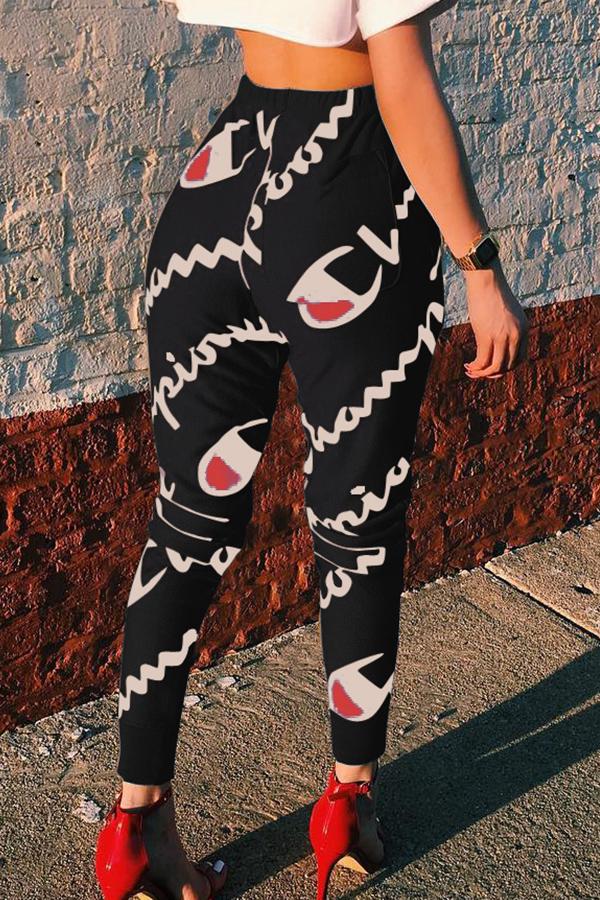 Cartas De Cintura Elástica Casual Mediados De Pantalones De Poliéster Negro Impresos
