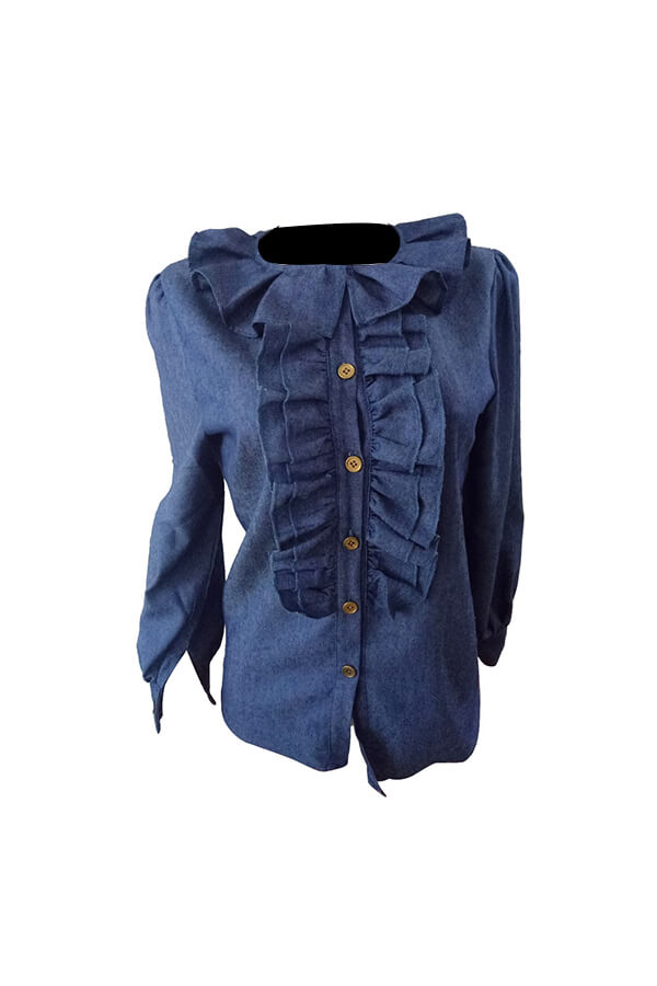 Stylischer Turndown Kragen Laternen Ärmel Rüschen Design Blue Denim Shirts