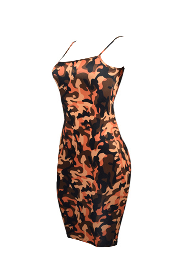 Lovely Sexy Spaghetti Strap Sleeveless Camouflage Printed Yellow Polyester Knee Length Dress