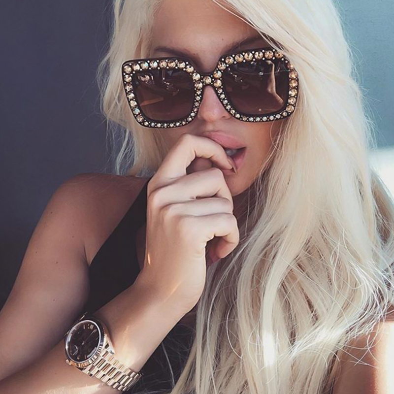 Fashion Diamante Decorative Leopard Print Square Frame PC Sunglasses