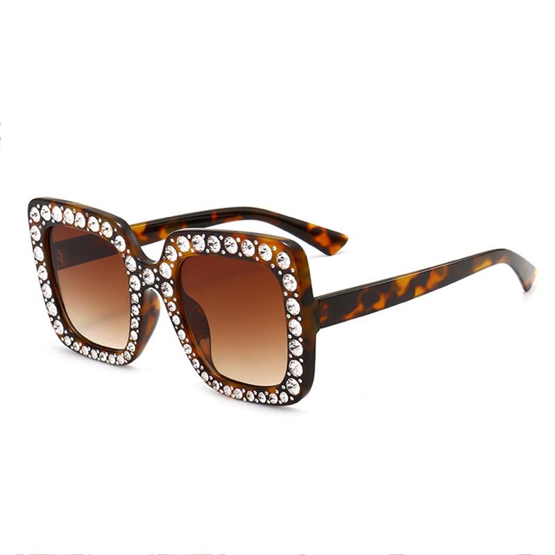 Art Und Weise Diamante Dekorative Leopard Print Quadratischen Rahmen PC Sonnenbrille