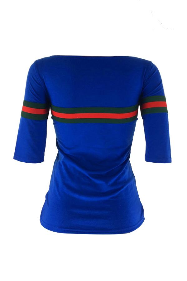 T-shirt In Cotone Blu A Patchwork Con Scollo Rotondo Adorabile