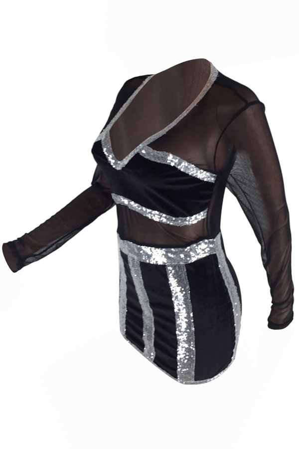 Sexy V Neck See-Through Black Polyester Mini Dress