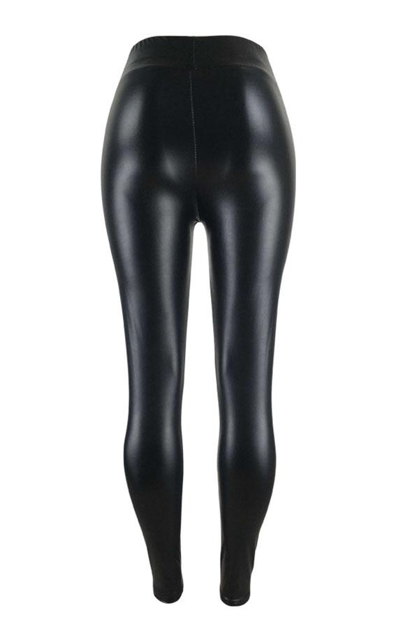 Euramerican High Elastic Waist Burnt-out Design Black Leather Pants