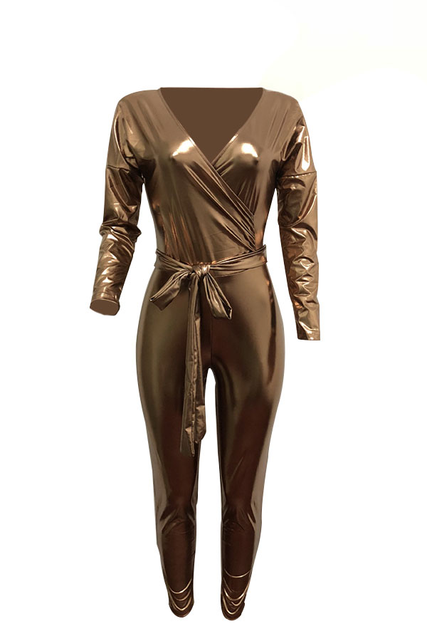 Trendy V Neck Beam Waist Gold Leather One-piece Jumpsuits(With Belt)