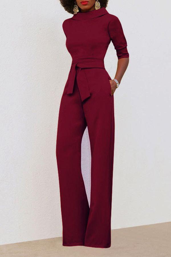 Chic Turtleneck Half Sleeves Wine Red Polyester One-piece Jumpsuits(With Belt)<br>