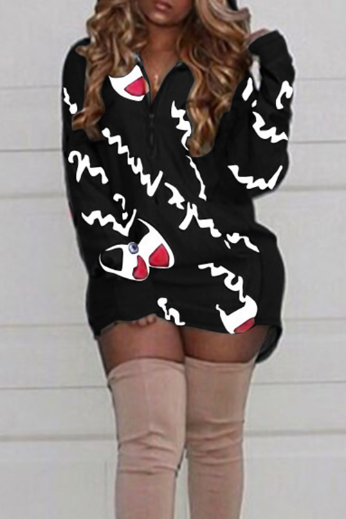 Letras De Cuello Con Capucha Casual Impreso Mini Vestido De Poliéster Negro