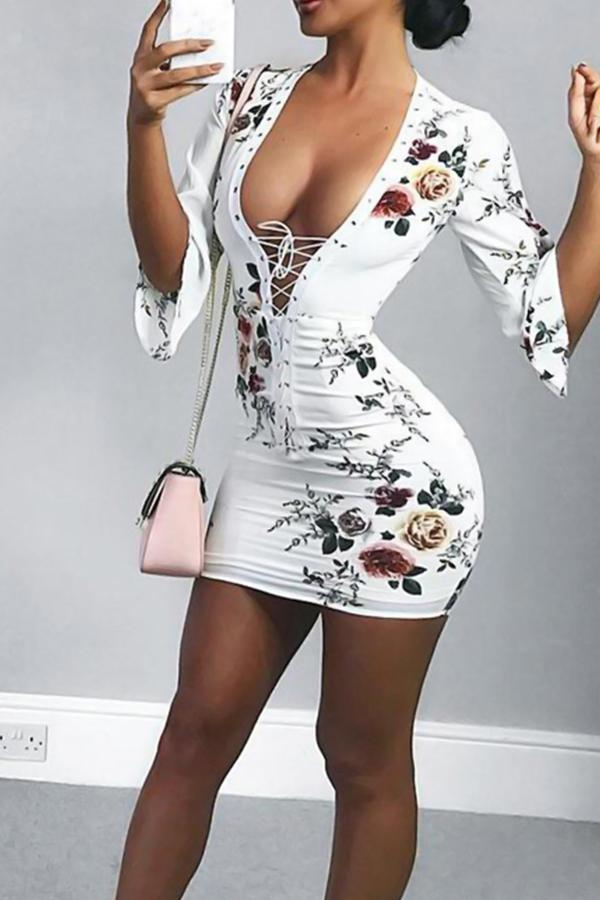 Sexy V-Ausschnitt Lace-up Floral Gedruckten Weißen Polyester-Minikleid (nicht-Positionierung Druck)