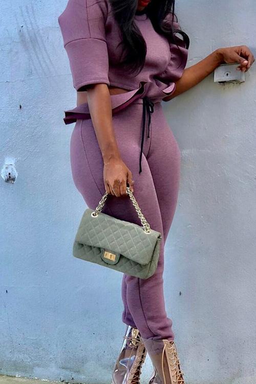 Falbala De Cuello Redondo Elegante Diseño De Dos Piezas De Poliéster Púrpura Conjunto