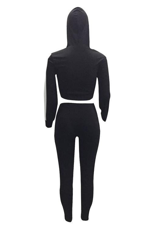 Pantalones De Dos Piezas De Poliéster Negro A Rayas De Cuello Casual Con Capucha