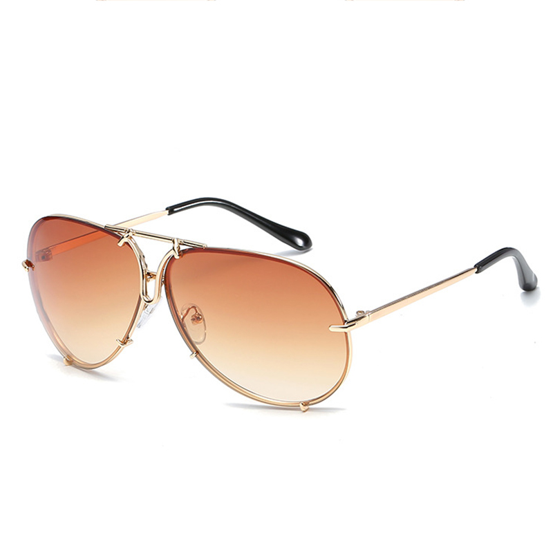 Fashion Gold Frame Coffee PC Sunglasses