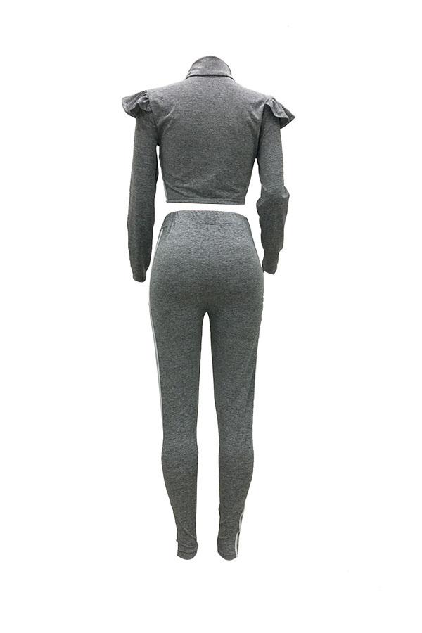 Casual Mandarin Collar Ruffle Design Striped Grey Polyester Two-Piece Pants Set